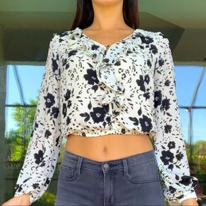 ASTR Ivory Black Floral Ruffle Cropped Blouse